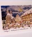 Postkarte Stuttgart Schillerplatz mit Weihnachtsmarkt