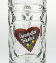 Maßkrug aus Glas mit Cannstatter Volksfestherz
